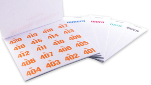Self-adhesive numbers